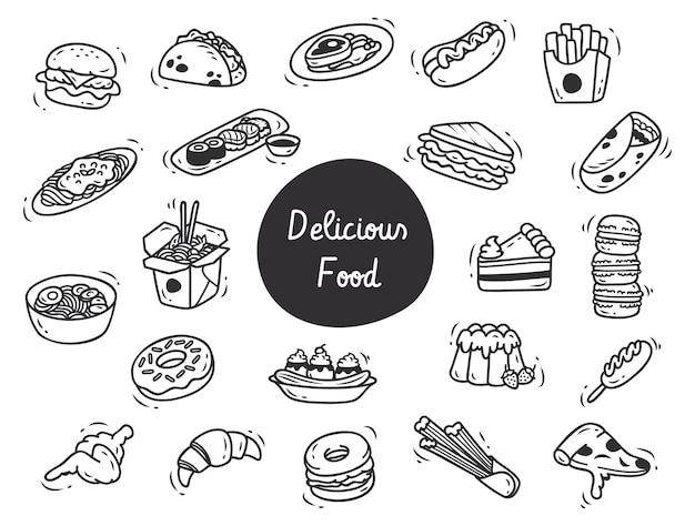 Ensemble de délicieux doodle alimentaire