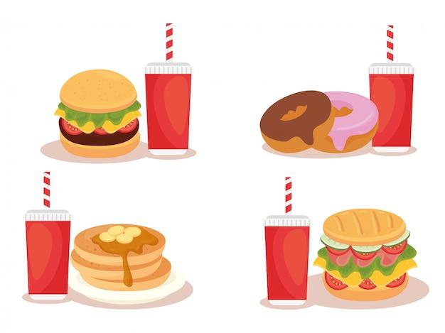 Ensemble de délicieux fast-food sur blanc