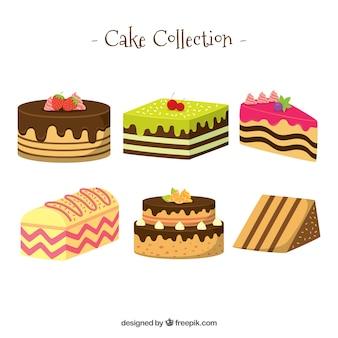 Ensemble de délicieux gâteau dans un style plat