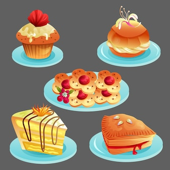 Ensemble de délicieux plats de boulangerie