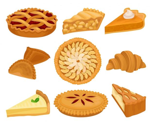 Ensemble de délicieux produits de boulangerie. tartes avec différentes garnitures, croissants frais et gâteau au fromage. aliments sucrés.