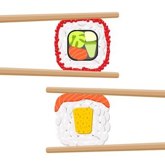 Ensemble de délicieux rouleaux de sushi colorés avec des baguettes