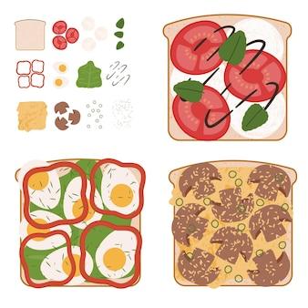Ensemble de délicieux sandwichs aux légumes avec des ingrédients utilisés
