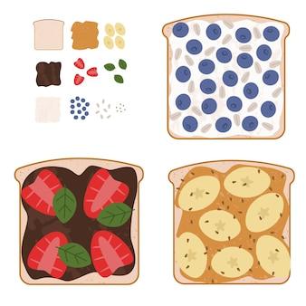 Ensemble de délicieux sandwichs sucrés avec des ingrédients utilisés