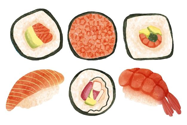 Ensemble de délicieux sushis aquarelle
