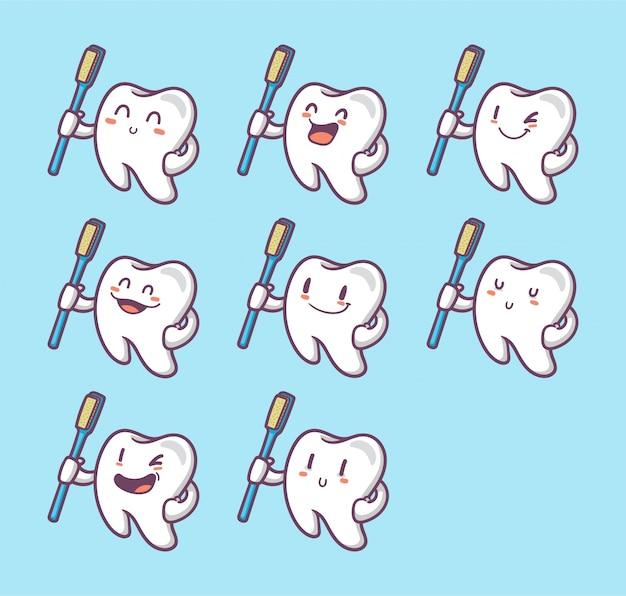 Ensemble de dents drôles