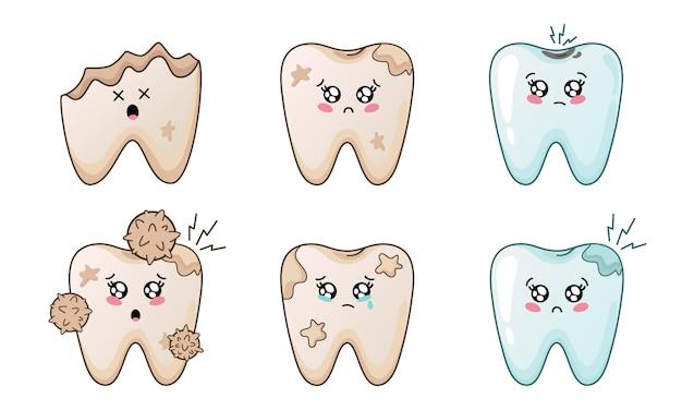 Ensemble de dents kawaii avec emodji, personnages de dessins animés