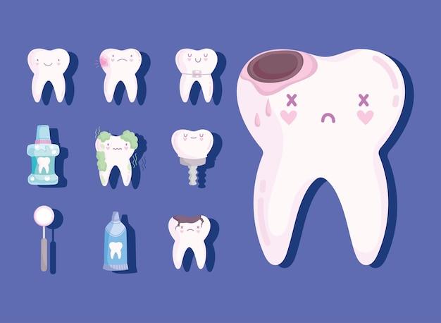 Ensemble de dents mignonnes kawaii