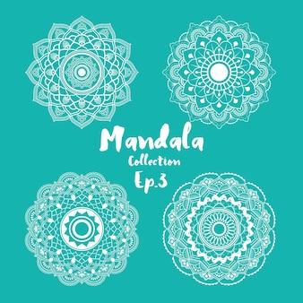 Ensemble de design décoratif et ornemental de mandala pour la page de coloriage, carte de voeux, invitation, tatouage, symbole yoga et spa