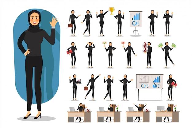 Ensemble de design de personnage de femme d'affaires, femme d'affaires musulmane