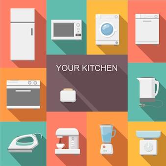 Ensemble de design plat d'appareils de cuisine