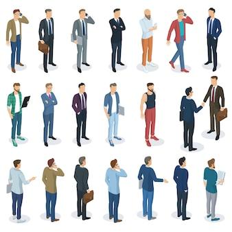 Ensemble de design plat isométrique debout hommes différents personnages, styles et professions. vues avant et arrière, divers personnages, professions, poses et styles. ensemble d'éléments de maquette.