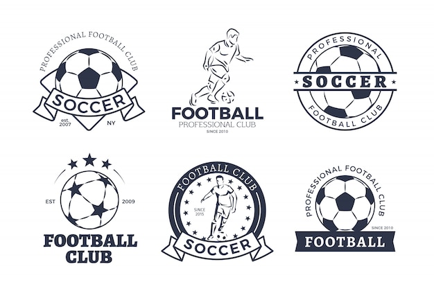 Ensemble de design plat de logos de club de football