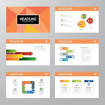 Ensemble de design plat de modèle de présentation infographique