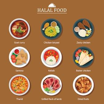 Ensemble de design plat de nourriture halal