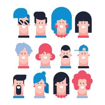 Ensemble de design plat de personnages masculins et féminins - vetorial