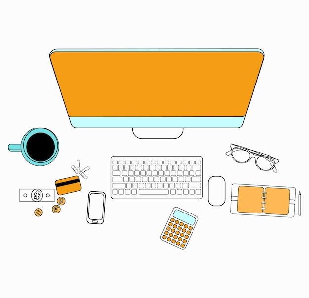 Ensemble de design plat pour ordinateur de bureau. éléments de design plat d'icônes de ligne. pictogramme de vecteur moderne.