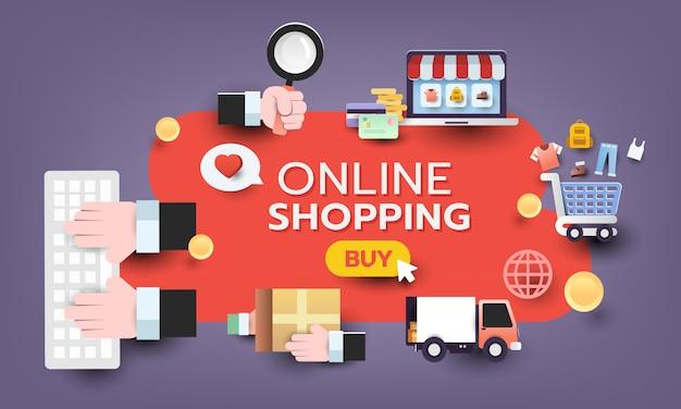 Ensemble de design shopping en ligne