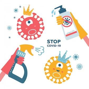 Ensemble de désinfection coronavirus. arrêtez 2019-ncov. la main dans le spray gant tue un personnage de bactérie virale avec une bouteille de désinfectant. solution désinfectante. illustration chidish. epidémie de prévention.