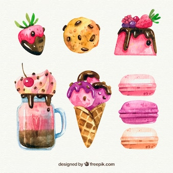 Ensemble de desserts aquarelle délicieux