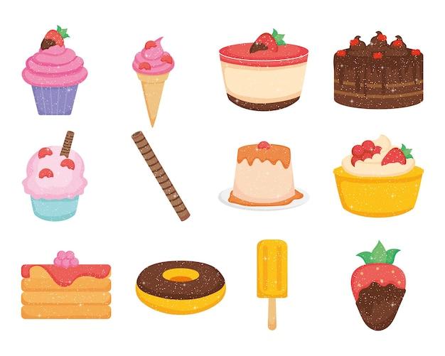 Ensemble de desserts au chocolat et sucrés
