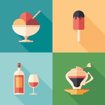 Ensemble de desserts et boissons icônes carrées plates avec longues ombres.