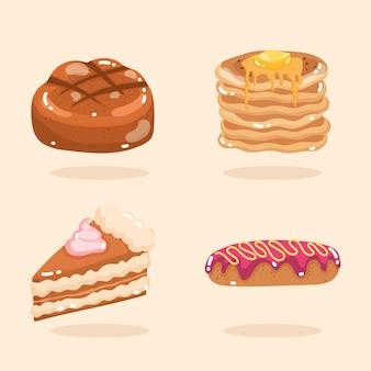 Ensemble de desserts de boulangerie