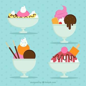 Ensemble de desserts délicieux avec de la crème glacée