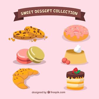 Ensemble de desserts sucrés dans le style 2d