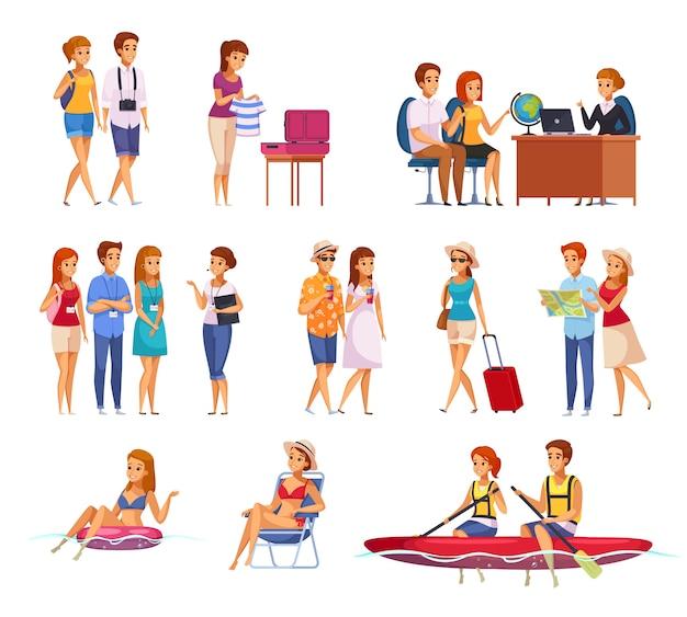 Ensemble de dessin animé d'agence de voyage