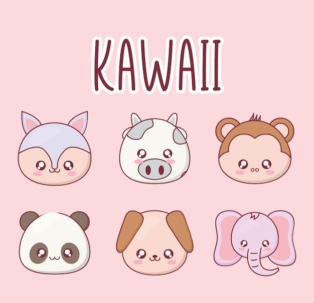 Ensemble de dessin animé animal kawaii de conception d'icônes, thème drôle d'expression de personnage mignon et émoticône