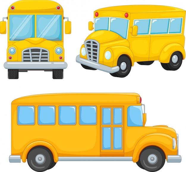 Ensemble de dessin animé d'autobus scolaire