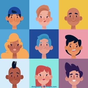 Ensemble de dessin animé d'avatars légers