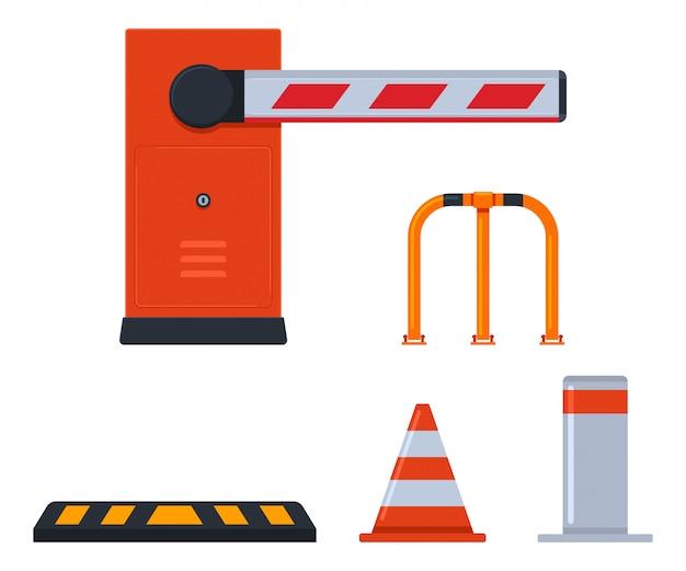 Ensemble de dessin animé de barrières de stationnement isolé sur fond blanc.