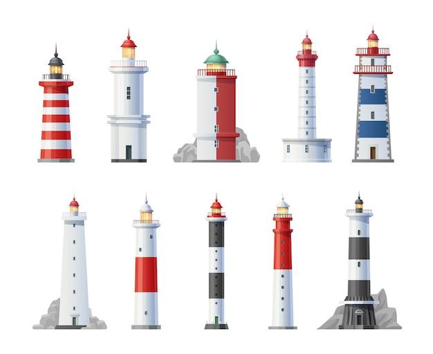 Ensemble de dessin animé de bâtiments vieux phares tours