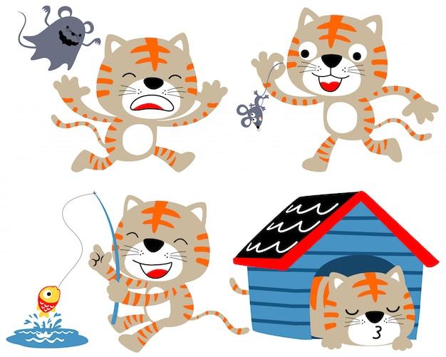 Ensemble de dessin animé de beaux chatons
