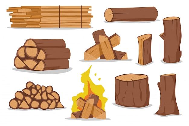 Ensemble de dessin animé de bûches et de bois de chauffage isolé sur fond blanc.