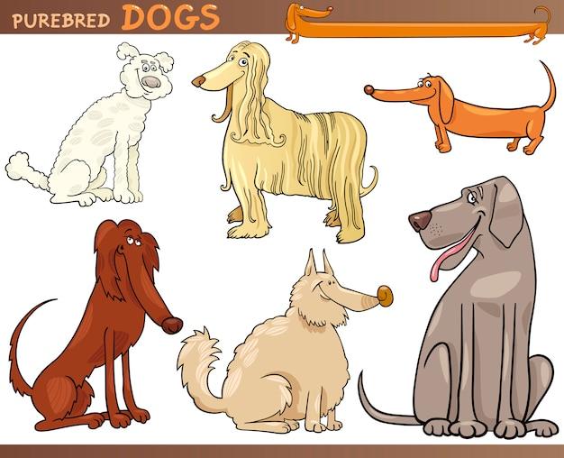 Ensemble de dessin animé de chiens de race
