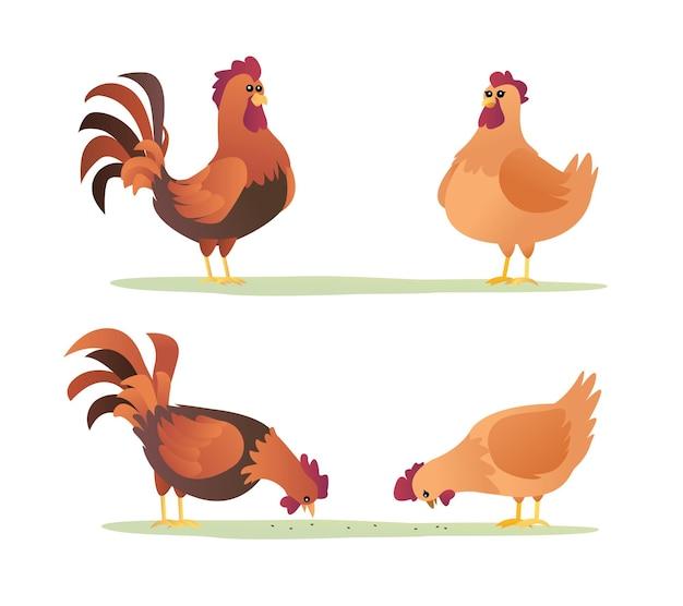 Ensemble de dessin animé de coqs et de poules