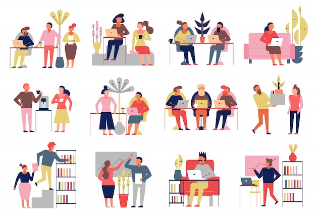 Ensemble de dessin animé de coworking