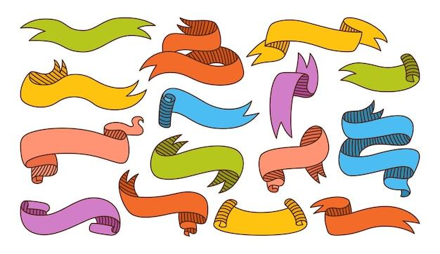 Ensemble de dessin animé de croquis coloré de ruban