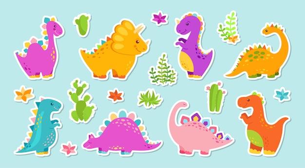 Ensemble de dessin animé de dinosaure autocollant.