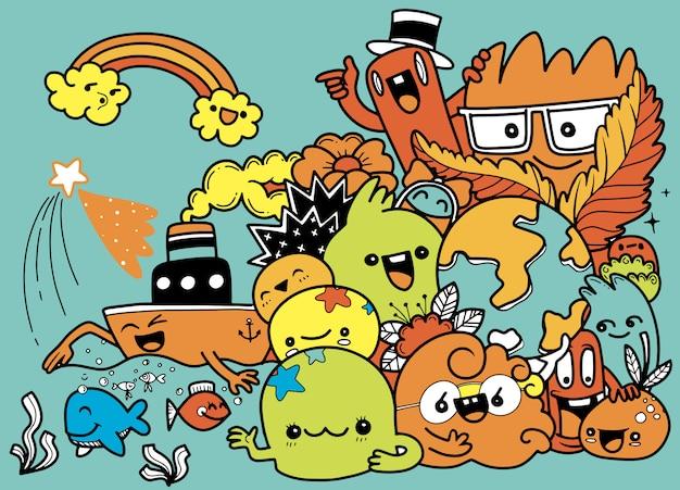 Ensemble de dessin animé drôle de doodle. illustration dessinée à la main