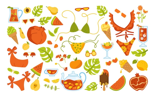 Ensemble de dessin animé élégant d'été. éléments de griffonnage. crème glacée, pot à cocktail, bikini, boissons, monstera. plat dessiné à la main isolé