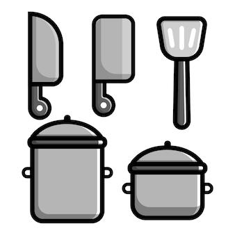 Ensemble de dessin animé d'éléments de cuisine outils vectoriels