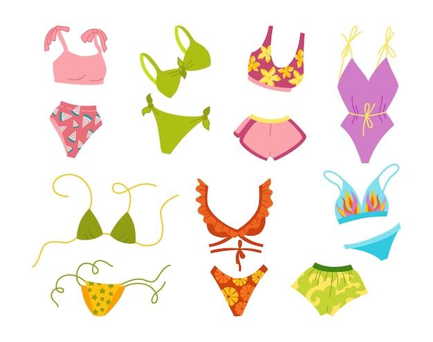 Ensemble de dessin animé d'été lingerie et maillot de bain.