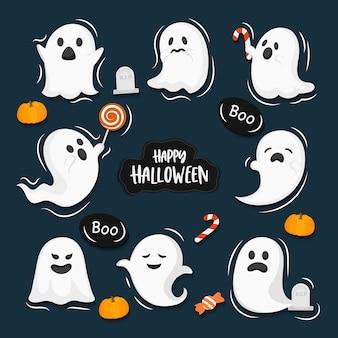 Ensemble de dessin animé fantôme, ensemble d'éléments halloween, isolé sur fond