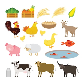 Ensemble de dessin animé de ferme animaux mignons