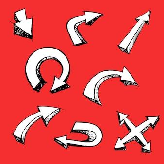 Ensemble de dessin animé flèche style 3d sur fond rouge fait à la main