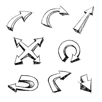 Ensemble de dessin animé de flèches sur la collection d'icônes de grunge d'encre de brosse à la main blanche